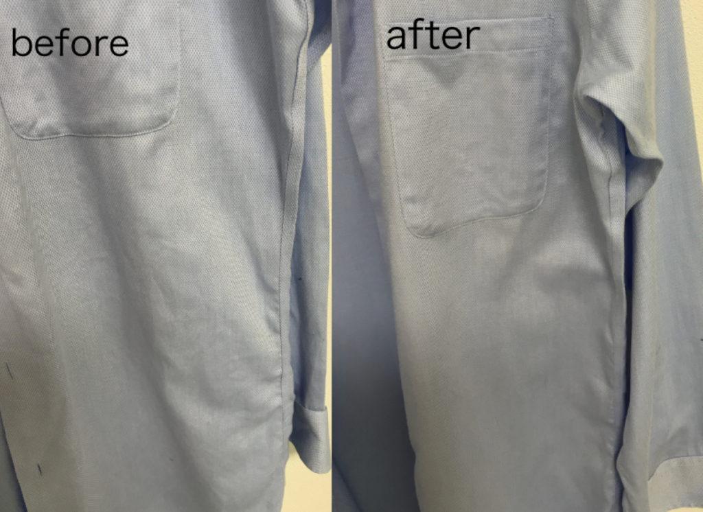 形状記憶長袖シャツ 衣類スチーマー使用前後 細部
