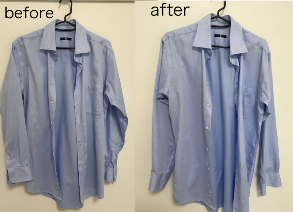 形状記憶 形状記憶 長袖シャツ 衣類スチーマー使用前後