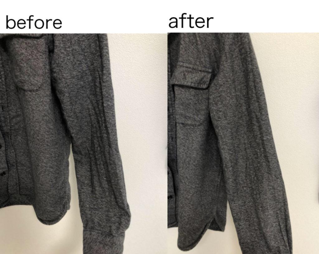 衣類スチーマー 厚手のシャツ 細部